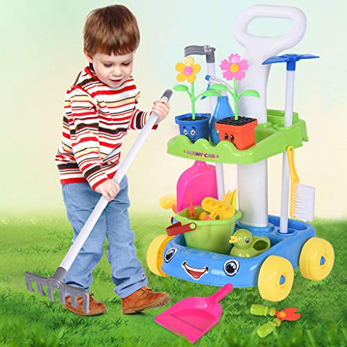 Fun Garden Toy Cart for Kids Toddler with Music Light Pretend Cleaning Set Toys Pretend Play Gardening Tools Toys Gifts for Kids (33x33x55cm, Blue)