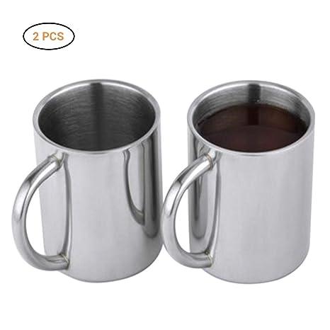 2 tazas de café de acero inoxidable, taza de té/leche latte ...