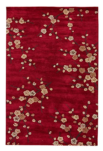 (Jaipur Living Cherry Blossom Hand-Tufted Polyester Floral & Leaves Red Area Rug (2' X 3'))