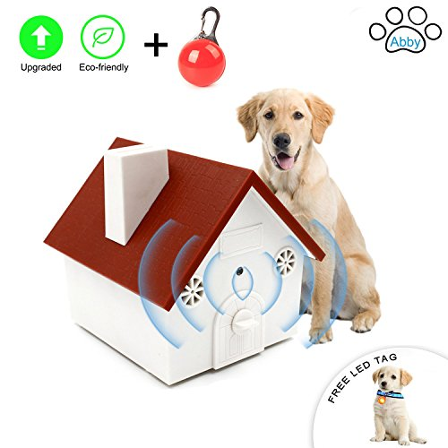 Abby Newest Upgraded Value Pack, Super Ultrasonic Anti Barking Device- Bark Control Deterrents- Training tools- No Harm- Hanging Birdhouse Design Training Dogs, FREE LED CLIP-ON PET SAFETY LIGHT by Abby