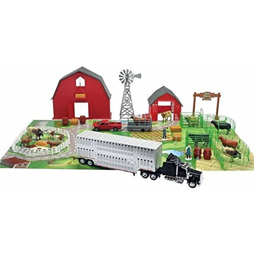 Ranch Set - Cattle Ranch Farm Toy Set with Die Cast Farm Animals,play Mat, Buildings, Trucks, Trailers, People and Accessories by NewRay