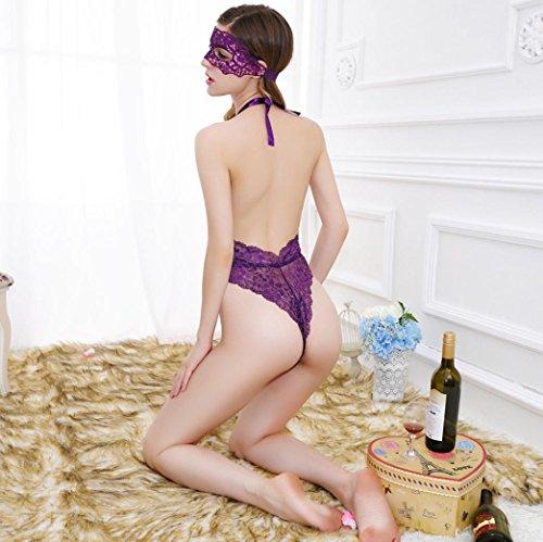 SMARTLADY Encaje interior Pijamas Bodies con máscara del Encaje para Mujer morado