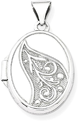 ICE CARATS 14k White Gold 17mm Embossed Oval Photo Pendant Charm Locket Chain Necklace That Holds Pictures by ICE CARATS