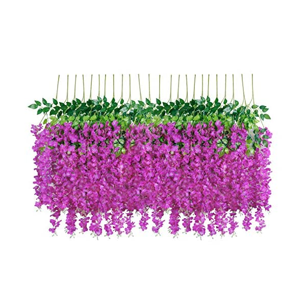 U'Artlines 24 Pack 3.6 Feet/Piece Artificial Fake Wisteria Vine Ratta Hanging Garland Silk Flowers String Home Party Wedding Decor Extra Long and Thick (24, Purple Red)