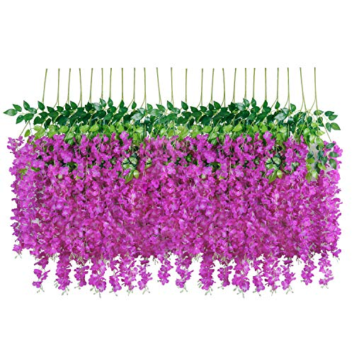 U'Artlines 24 Pack 3.6 Feet/Piece Artificial Fake Wisteria Vine Ratta Hanging Garland Silk Flowers String Home Party Wedding Decor Extra Long and Thick (24, Purple Red) (Silk Red Orchids)