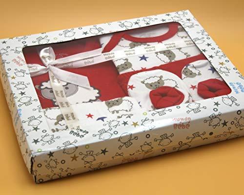 Baby Gift Set – 5st Boxed Luxe Gift Set 0-3 maanden (rood en wit)