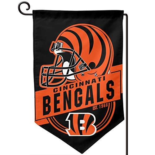 Marrytiny Design Colorful Garden Flags American Football Team Cincinnati Bengals Durable Double Sided 12.5 x 18 Inch 100% Polyester Home House Wall Flag Decor