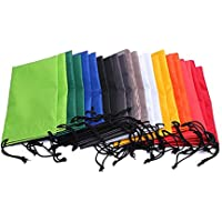 Drawstring Microfiber Sunglass and Eyeglass Pouch Glasses Case,Mixed Color Pack of 20