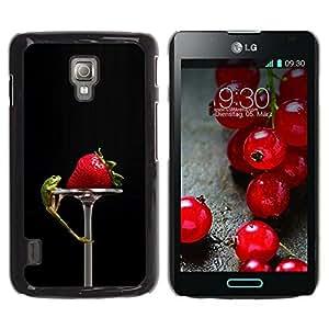 Paccase / SLIM PC / Aliminium Casa Carcasa Funda Case Cover - Funny Tasty Strawberry & Lizzard - LG Optimus L7 II P710 / L7X P714
