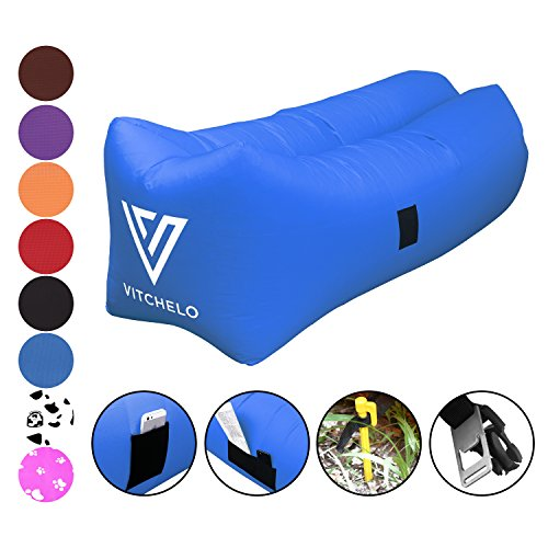 Inflatable Couch by Vitchelo - Giant Bean Bag Chairs for Kids and Adults Blow Up Sofa - Inflatable Lounge & Air Chair Perfect for Indoor and Outdoor Hangout Camping Picnic & Music (Giant Inflatable Chair)