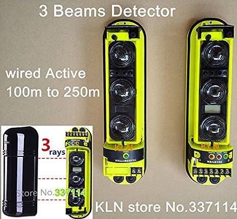 Foco LCD SUNNY-MERCADO haz fotoeléctrico al aire libre barrera de alarma perimetral por infrarrojos IR vigas cableadas activos con 3 rayos 250m 150m 200m ...