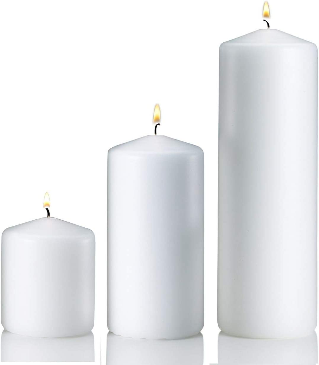 Amazon Com Light In The Dark White Pillar Candle Variety Set 3 White Unscented Pillar Candles Set Includes 3 6 And 9 Candles Home Kitchen