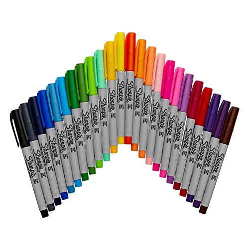 Sharpie Electro Pop Permanent Markers, Ultra Fine Point, Assorted Colors, 24 Count by Sharpie (Image #2)