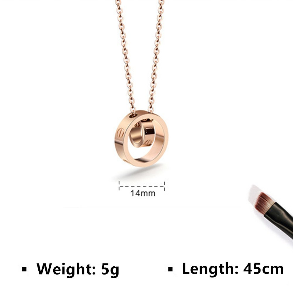 Fire Ants Love Necklaces - Women's Lucky Fashion Eternal Double Ring Necklace (Rose Gold-A) by Fire Ants (Image #2)