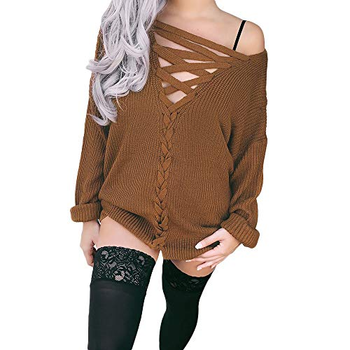 Padaleks Women Sweater Ladies Sexy Long Sleeve T-Shirt Off Shoulder Casual Loose Knitted Double-Sides Blouse Tops