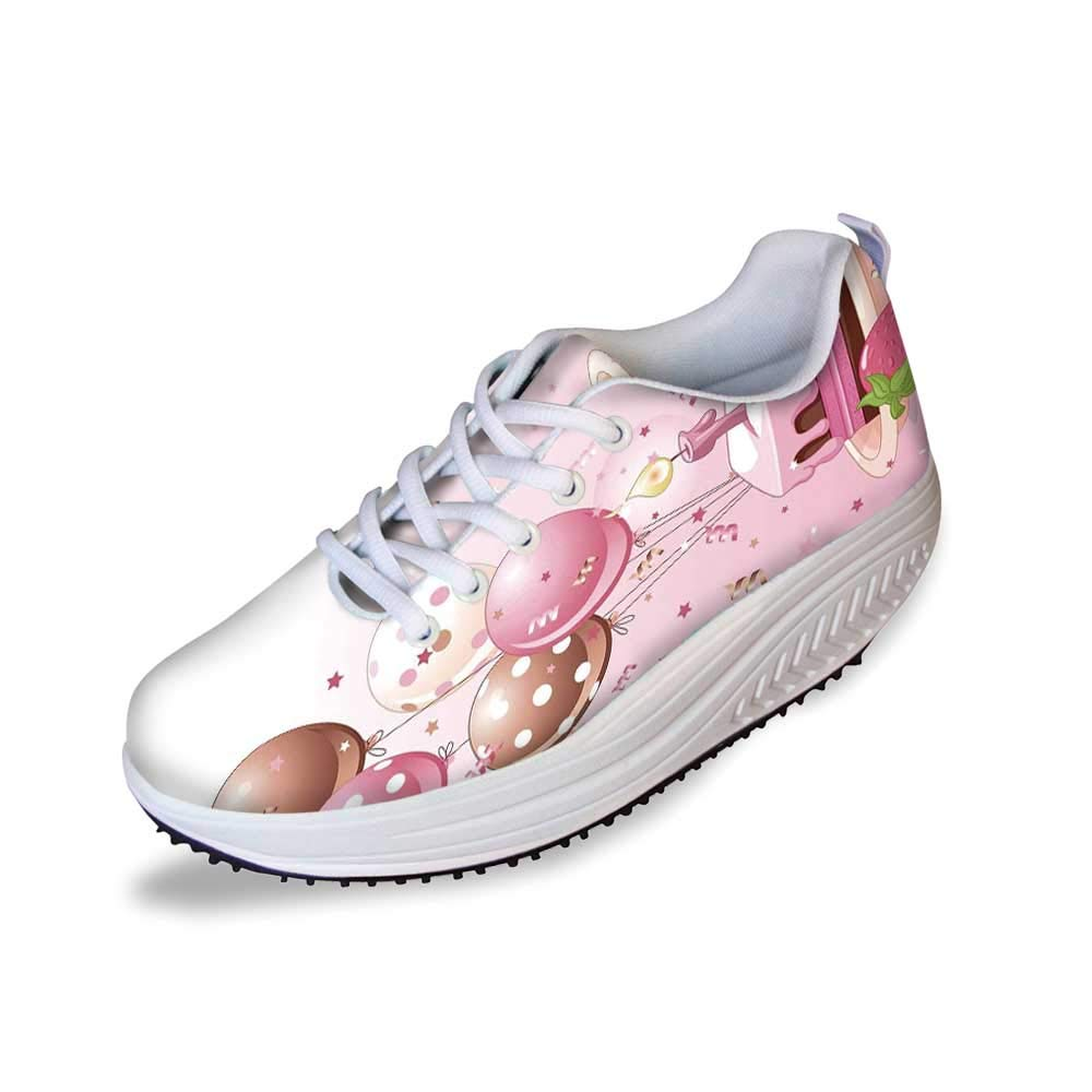 Birthday Decorations Stylish Shake Shoes,Strawberry Pink Slice of Cake Candle Dotted Balloons and Confetti for Women,8