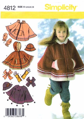 Simplicity 4812 Girls Poncho Hat Scarf Arm Warmers Mittens Sewing Pattern Size 3 - 8 ()
