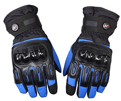 Waterproof Motorcycle Gloves Full Finger Gloves For Motorcycle Biker Riding Powersports Outdoor Racing Hard Plastic Knuckle (XL, Blue)