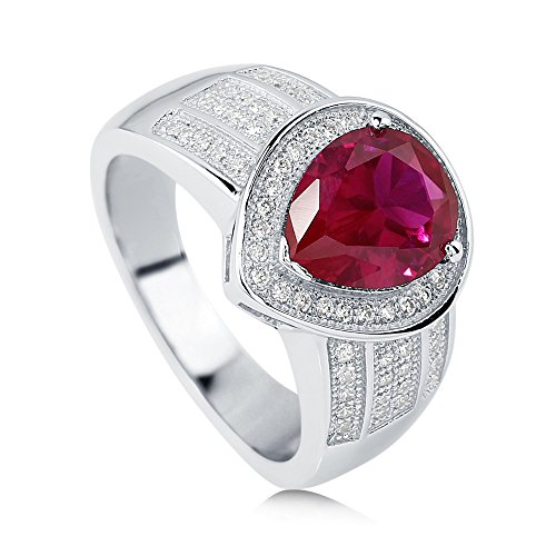 Simulated Ruby Cocktail Ring (BERRICLE Rhodium Plated Sterling Silver Pear Cut Simulated Ruby Cubic Zirconia CZ Halo Ring Size 5)