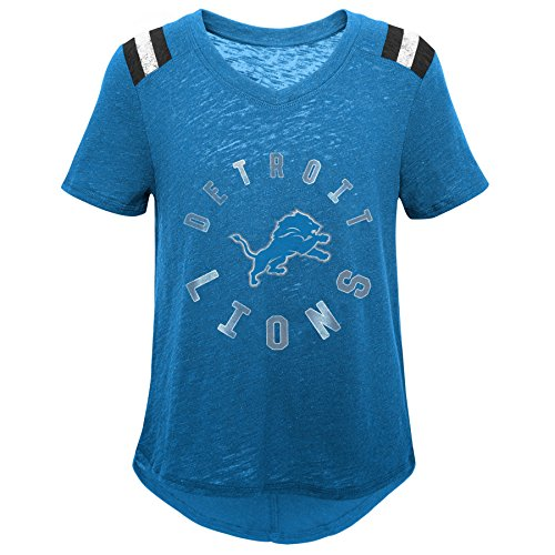 Outerstuff NFL NFL Detroit Lions Youth Girls Retro Block Vintage Short Sleeve Football Tee Lion Blue, Youth Medium(10-12) ()