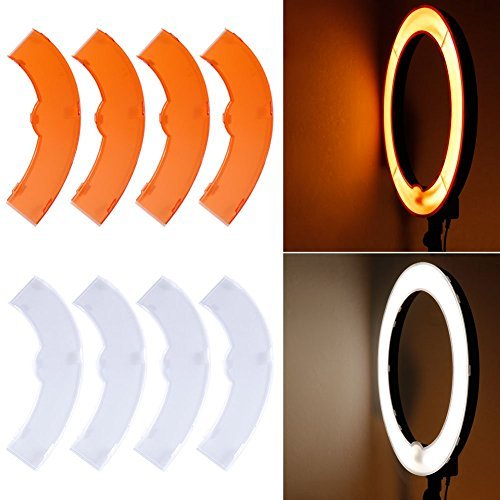 Neewer White and Yellow Color Filter Set for Neewer 600W 5500K Dimmable Ring Fluorescent Flash Light