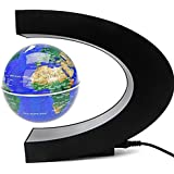 Geelyda Magnetic Levitation Floating Globe 3 Inches C Shape Midair Anti-gravity Earth Planet Ball Rotating Suspended in Air World Map With Colored LED For Kids Adult Learning Office Home Desk Decor