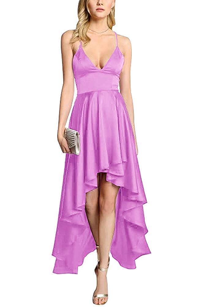 Lavender ZLQQ Women's Spaghetti Strap Prom Dresses HiLo VNeck Bridesmaid Dress Short Formal Evening Gown