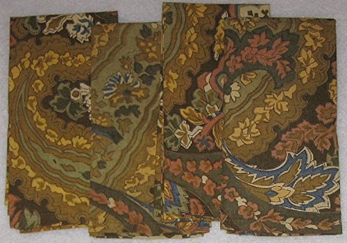 (April Cornell Set of 4 Cotton Napkins - Brown, Rust, Green, Gold, and Blue Print)