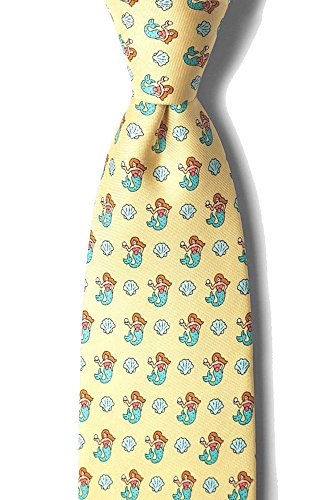 Men's 100% Silk Yellow Mermaid Nautical Novelty Tie Necktie Alynn Novelty Yellow Silk Ties
