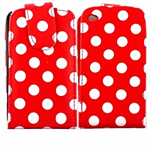 Polka Voltear Caso Cubrir Piel Para Apple iPod Touch 4 4th Generation / White Polka Dots Spots Red