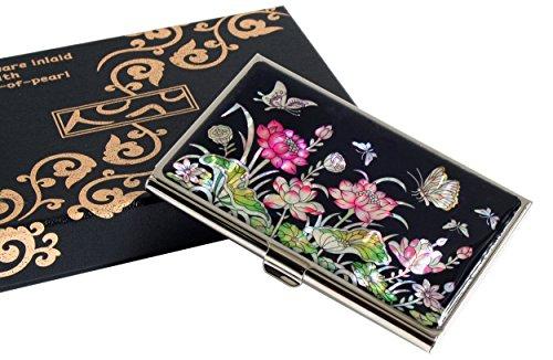 De Efecto Madreperla Loto Negocio Tarjetas Con Diseño Flor Rosa Identidad Para Tarjetero Nacrado Metálico q6fFdqw