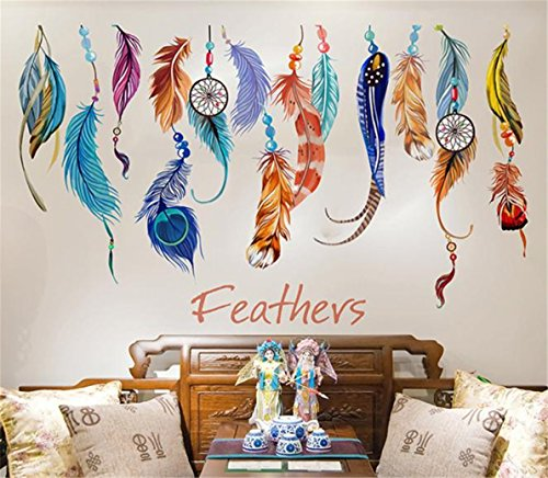 TIFENNY Classic Creative Dream Catcher Feather Wall Sticker Art Decal Mural