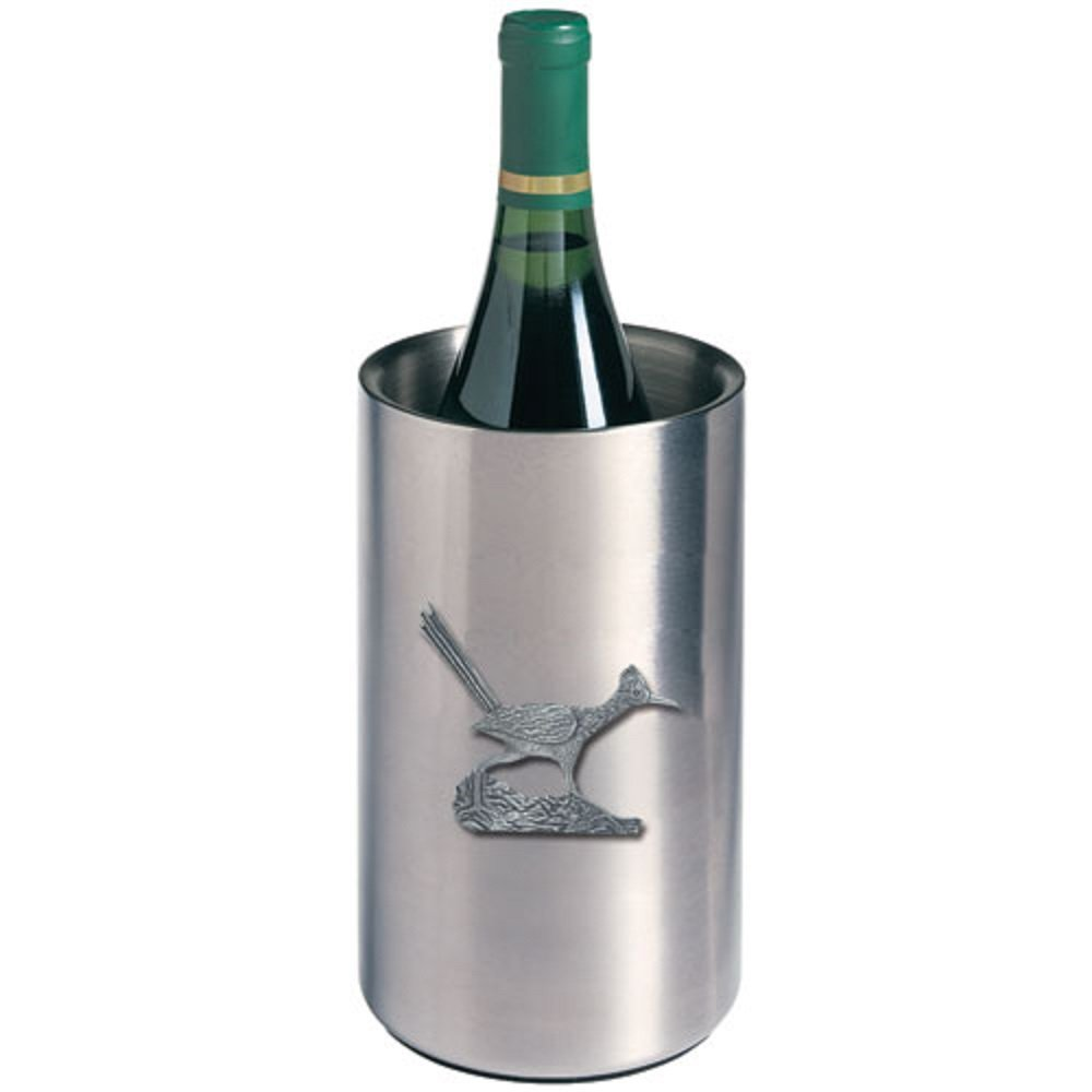 ANIMAL, BIRD, ROADRUNNER WINE CHILLER, This is a wine chiller made of double-wall insulated stainless steel with a fine pewter logo medallion bonded to the front.