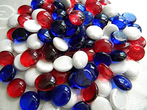 Dashington Flat Red/White/Blue Mix Marbles, Pebbles (5 Pound Bag/80oz) for Vase Filler, Table Scatter, Aquarium Decor, - Blue Red Mix