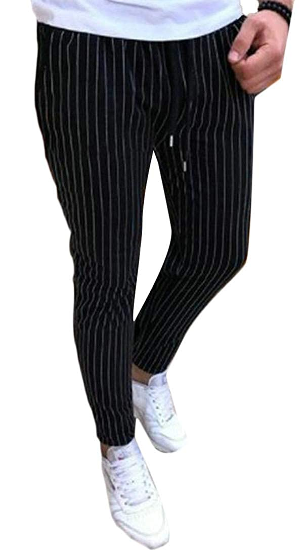 Lutratocro Men Straight Fit Elastic Waist Slim Fit Stripe Breathable Casual Pants