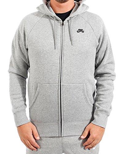Nike Mens SB Icon Full Zip Sweatshirt Dark Grey Heather/Black 800149-063 Size Medium