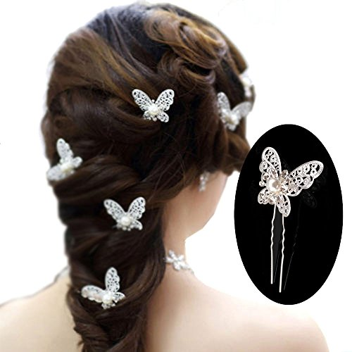 yueton Pack of 20 Butterfly Pearl Crystal Hair Pin Bride Headwear Hair Accessories (Silver)