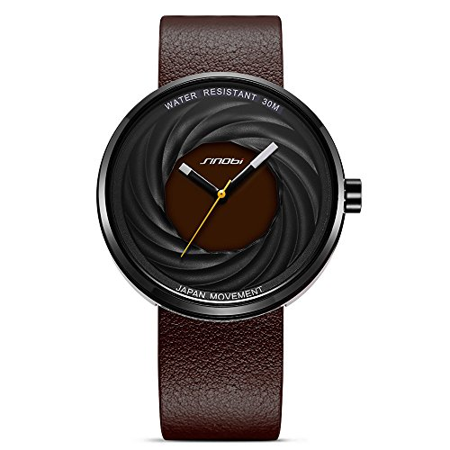 Men's Teens Boys Analog Quartz Wrist Watch with Brown Leather