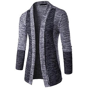 Coat Men, TurningPo Men Autumn Winter Sweater Cardigan Coat Knit Jacket Sweatshirt Knitwear (Asian L, Gray)