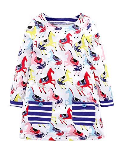 Fashspo Toddler Girl Cute Cotton Long Sleeve Tunic Dresses Horse Multi Stripe Size 4T