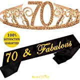 70th Birthday Tiara and Sash, HAPPY 70th Birthday Party Supplies, 70 & Fabulous Black Glitter Satin Sash and Crystal Tiara Birthday Crown for 70th Birthday Party Supplies and Decorations (GOLD)