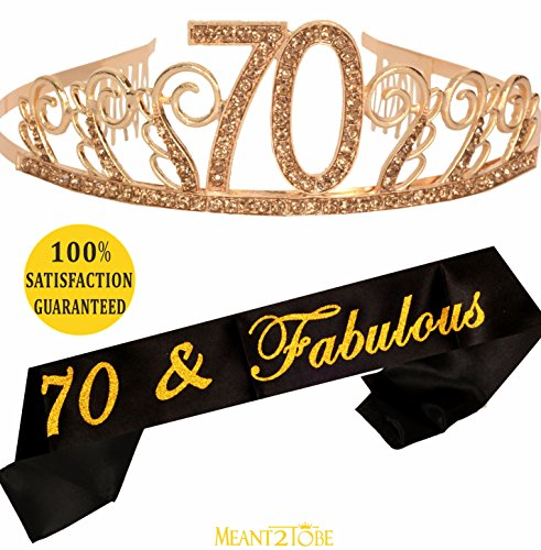 70th Birthday Tiara and Sash| Happy 70th Birthday Party Supplies| 70 & Fabulous Black Glitter Satin Sash and Crystal Tiara Birthday Crown for 70th Birthday Party Supplies and Decorations (Gold)