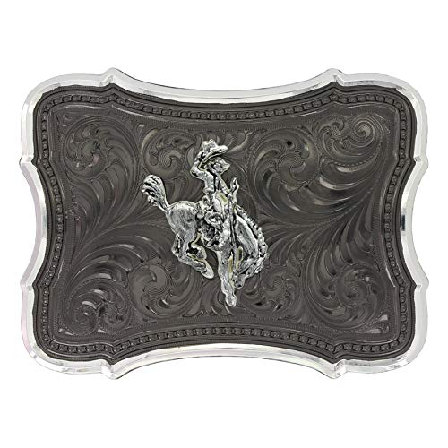 Silver Buckle Ranch - Montana Silversmiths Gunmetal Scalloped Point with Ranch Rodeo Buckle (30910SB-593)