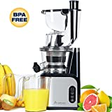 Aobosi 80MM Big Mouth Whole Slow Masticating Juicer extractor ,Wide Chute Anti-Oxidation Cold Pressed Juicer Extractor,Energy Saving 200W DC Heavy Duty Motor with Juice Jug and Cleaning Brush