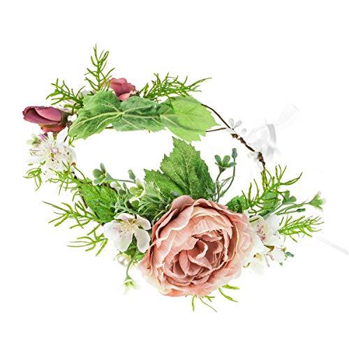 Floral Fall Adjustable Bridal Flower Garland Headband Flower Crown Hair Wreath Halo F-83 (Pink)