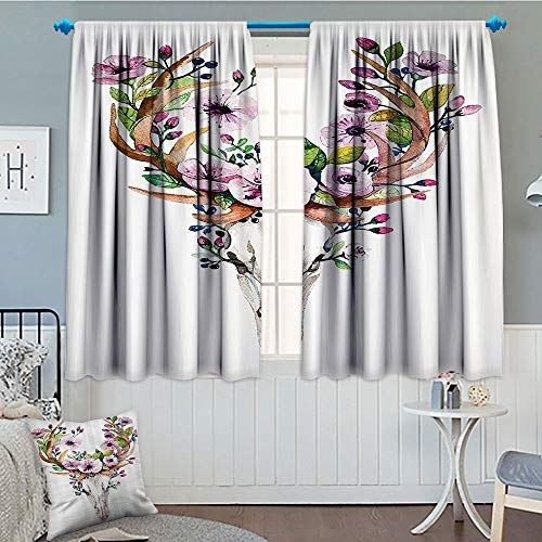 Deer Skulls Decorations Collection, Thermal/Room Darkening Window Curtains, Animal Skull with Floral Horns Nature Inspired Dead and Living Art Print, Customized Curtains, 72x63 Inch Cream Pink Brown (Brown Cream Horn)