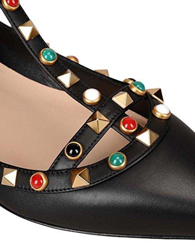 SHEO sandalias de tacón alto Remaches de las mujeres solo zapatos laca clavo hebilla zapatos planos puntiagudos D