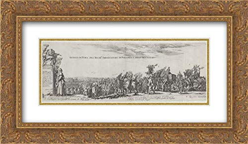 Stefano Della Bella - 40x22 Gold Ornate Frame and Double Matted Museum Art Print - Entry of The Polish Ambassador into Rome ()