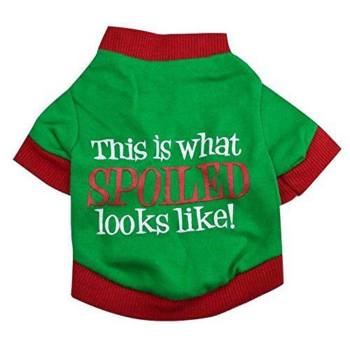 (IEason Pet Clothes, Christmas Pet Dog Puppy Clothes Cotton Double Color Letter Shirt Clothes (XS,)