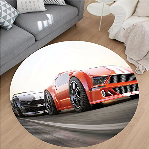 """Nalahome Modern Flannel Microfiber Non-Slip Machine Washable Round Area Rug-r Competing on the Highway One Chasing Another Team Champion Win Fast Life Image Red Grey area rugs Home Decor-Round 59"""""""